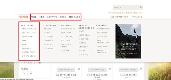 Quick Navigation in eCommerce website design