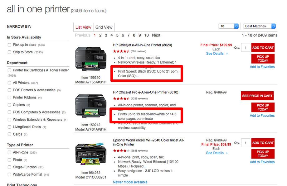 Filtering Menu eCommerce website