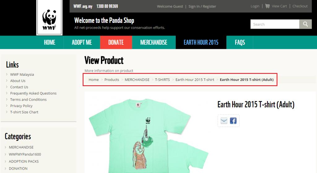 BreadCrumb in eCommerce website design